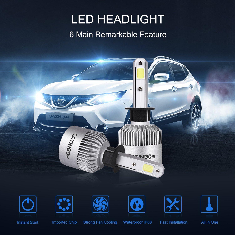 Amazon.com: Catinbow H1 LED Headlight Bulbs 72W 7200LM 6000K Cool White Super Bright COB LED Headlight Bulbs Conversion Kit Plug & Play Automotive Headlamp ...