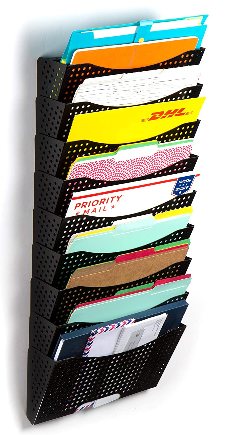 Wallniture Dots Lisbon Wall Mounted File Holder and Desk Organizer, 9-Tier Metal Black Office Organization and Storage Rack