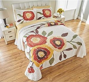BrylaneHome Bloom Chenille Bedspread - Queen, Marigold
