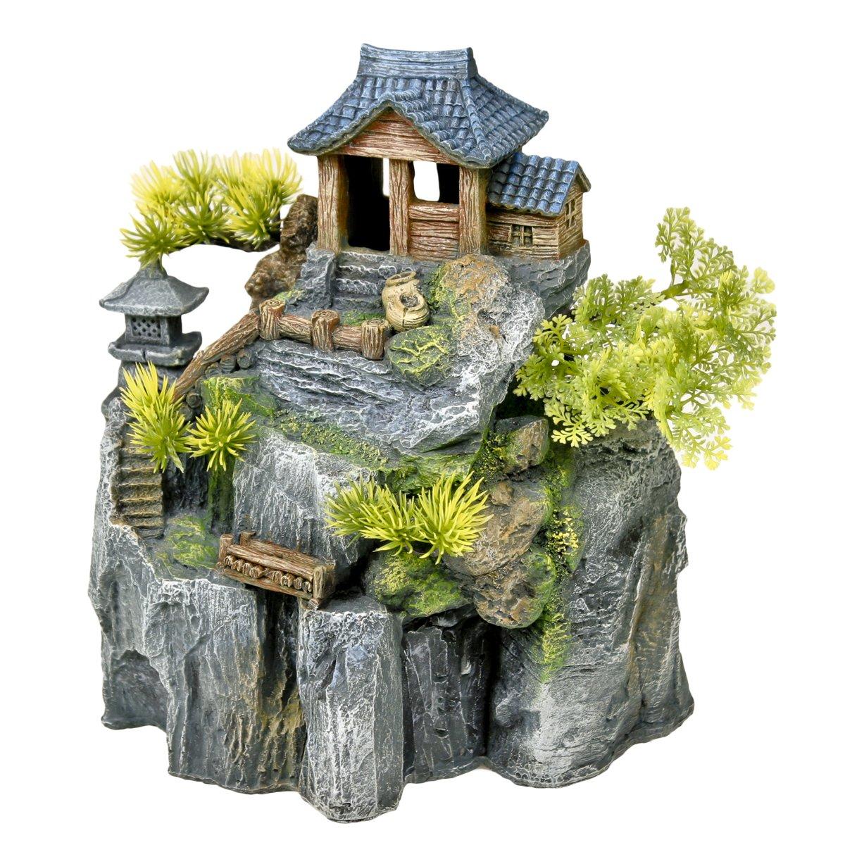 Exotic Environments Asian Cottage House with Bonsai Aquarium Ornament by Blue Ribbon