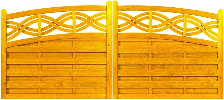 Andrewex wooden gate, garden fence 120 130 x 300cm varnished,pinie