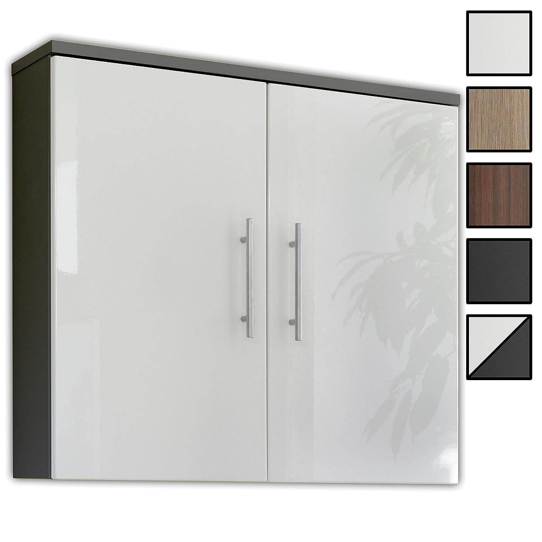 Bad Hängeschrank »TORONTO« in Hochglanz weiß - anthrazit, Höhe 68 cm, Breite 70 cm, Tiefe 20 cm, 2 Türen, Badschrank hängend