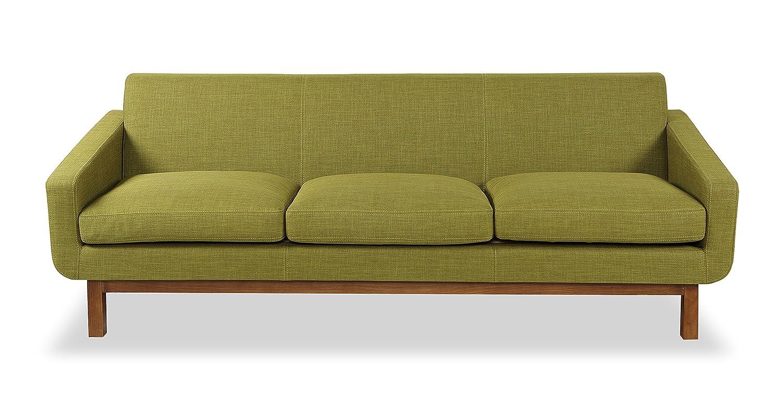 Kardiel Platform Mid-Century Modern Classic Sofa, Atomic Moss Vintage Twill, Walnut Wood