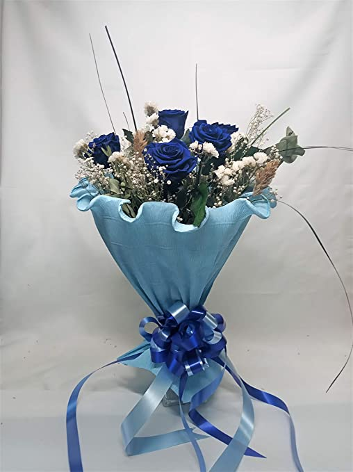 Eternaflor Rosa eterna Azul. Gratis TU Envio. 6 Rosas Azules eternas. Ramo de Rosas preservadas Azules. Decoradas con Flores y Verdes preservados. Hecho en España: Amazon.es: Hogar