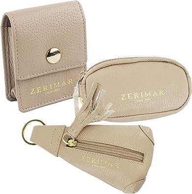 Zerimar Pack Llavero Monedero Portamonedas y Portacables | Piel | Estuches de llaves | Carteras y monederos: Amazon.es: Zapatos y complementos