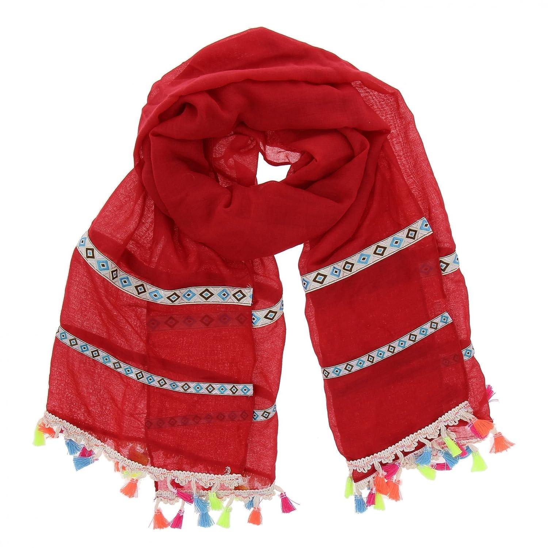 FASHIONGEN - Echarpe femme très douce à pompons EVINA - Beige  Amazon.fr   Vêtements et accessoires 580ead11639