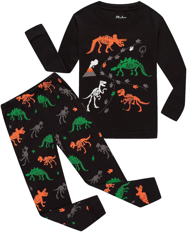 shelry Boys Pajamas Dinosaur Black Shirt & Pants Pj Kids Cotton 2 Piece Children Sleepwear Clothes 121