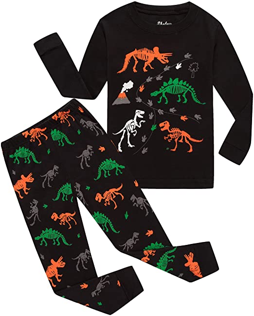 shelry Boys Pajamas Dinosaur Black Shirt   Pants Pj Kids Cotton 2 Piece Children  Sleepwear Clothes ec30d32cf