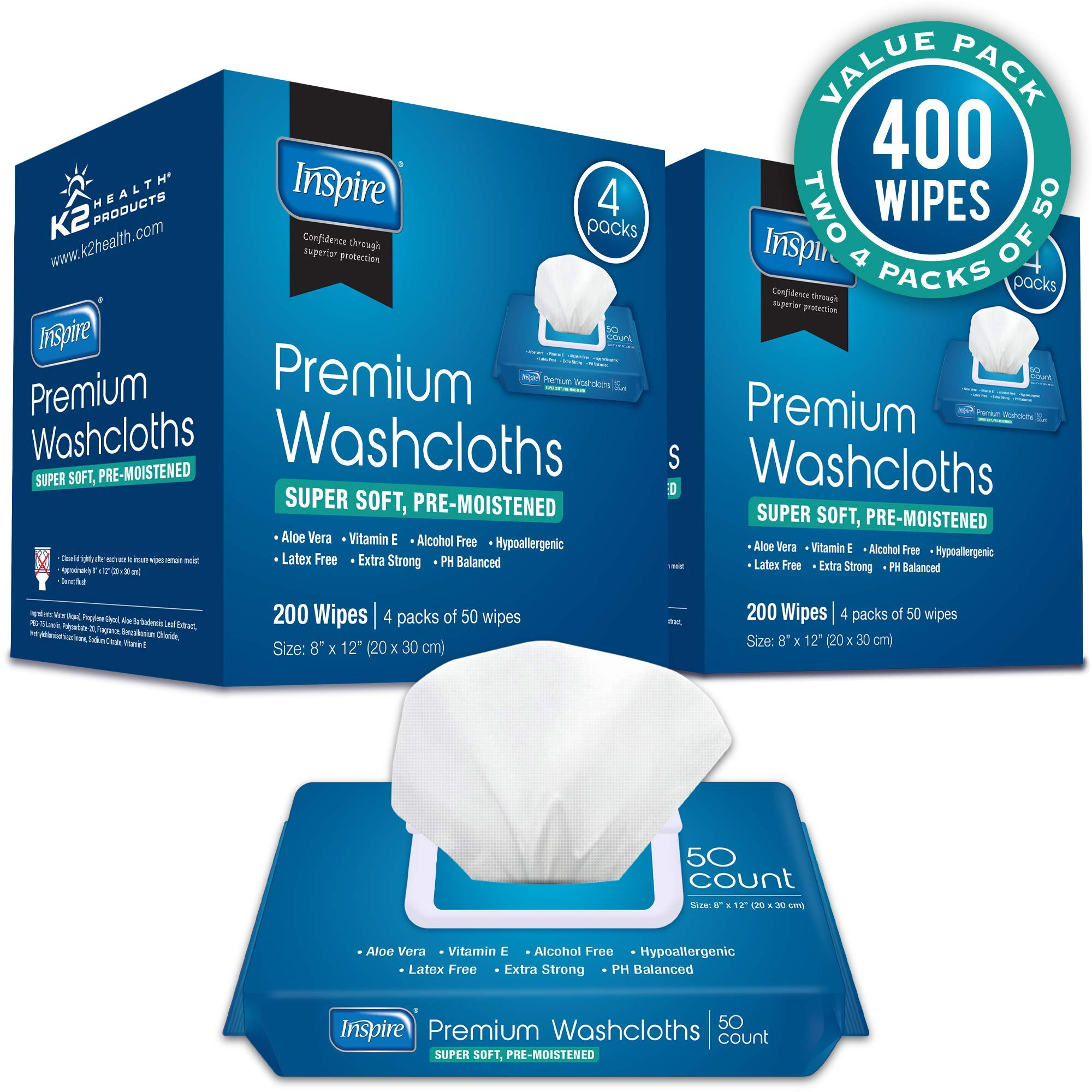 Inspire Disposable Washcloths - Adult Body Wipes for Cleansing, Extra Large, Unscented, 400Count