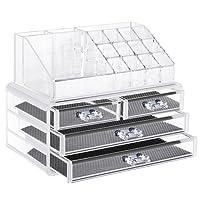 Neewer Caja Almacenamiento de Joyas y Cosméticos Acrílica , Organizador de Paleta de Maquillaje, Plástico Transparente de Calidad, Set de 2 Piezas
