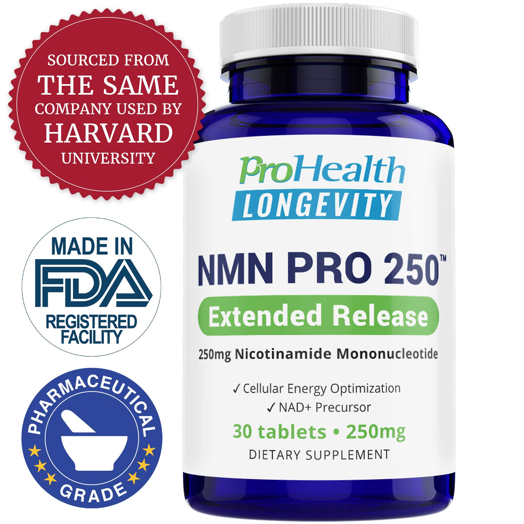 ProHealth NMN Pro 250 Extended Release (250 mg nicotinamide mononucleotide, 30 Tablets) NAD+ Precursor | Supports Anti-Aging, Longevity and Energy | Non-GMO by ProHealth