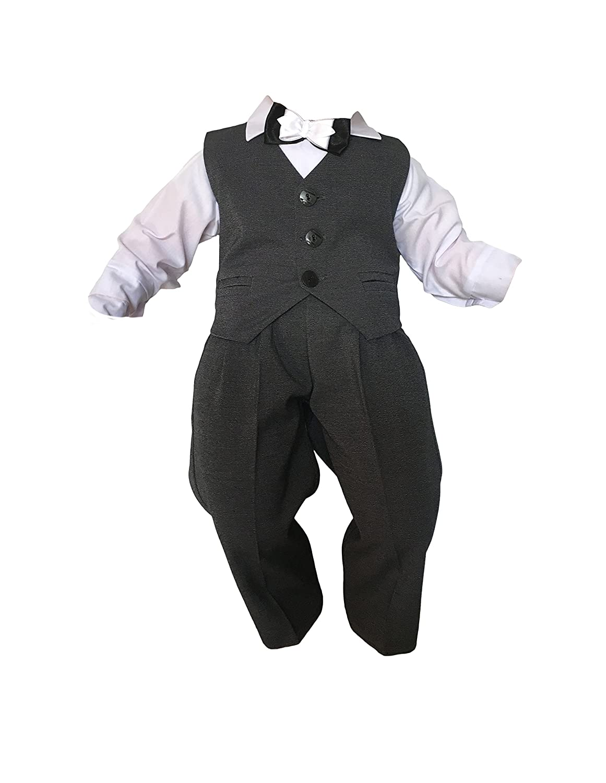 Taufanzug Baby Junge Kinder Kind Taufe Anzug Hochzeit Anzüge Festanzug, 4tlg, K13/3, Grau-Weiß Grau-Weiß