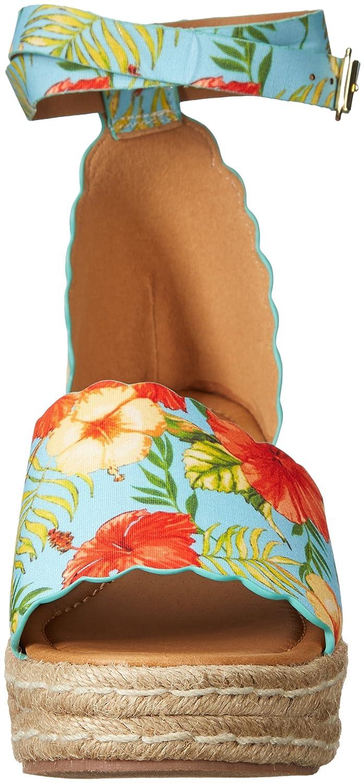 Qupid Women's Espadrille Wedge Sandal B079K7H4K7 6 B(M) US Blu/Orange