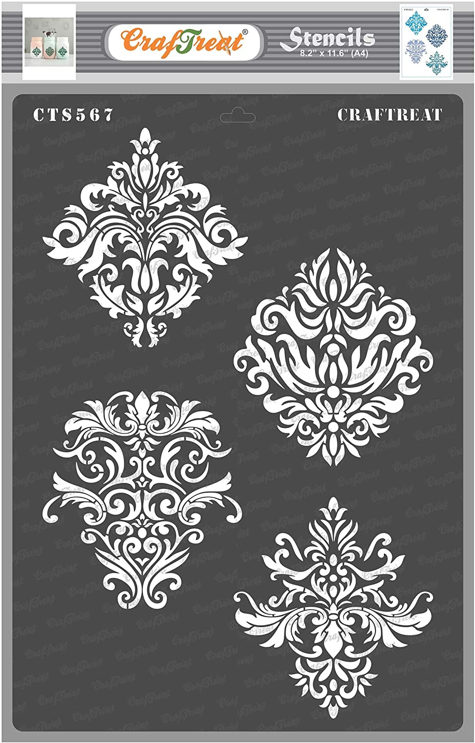 Ikat Damask Scrapbook and Printing on Paper CrafTreat Stencil Reusable Painting Template for Journal Wood 6x6 inches Fabric Home Decor Tile DIY Albums Crafting Floor Wall Notebook