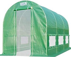 Quictent 2 Mesh Doors Portable Greenhouse Large Green Garden Hot House Grow Tent 12'X 7'X 7'