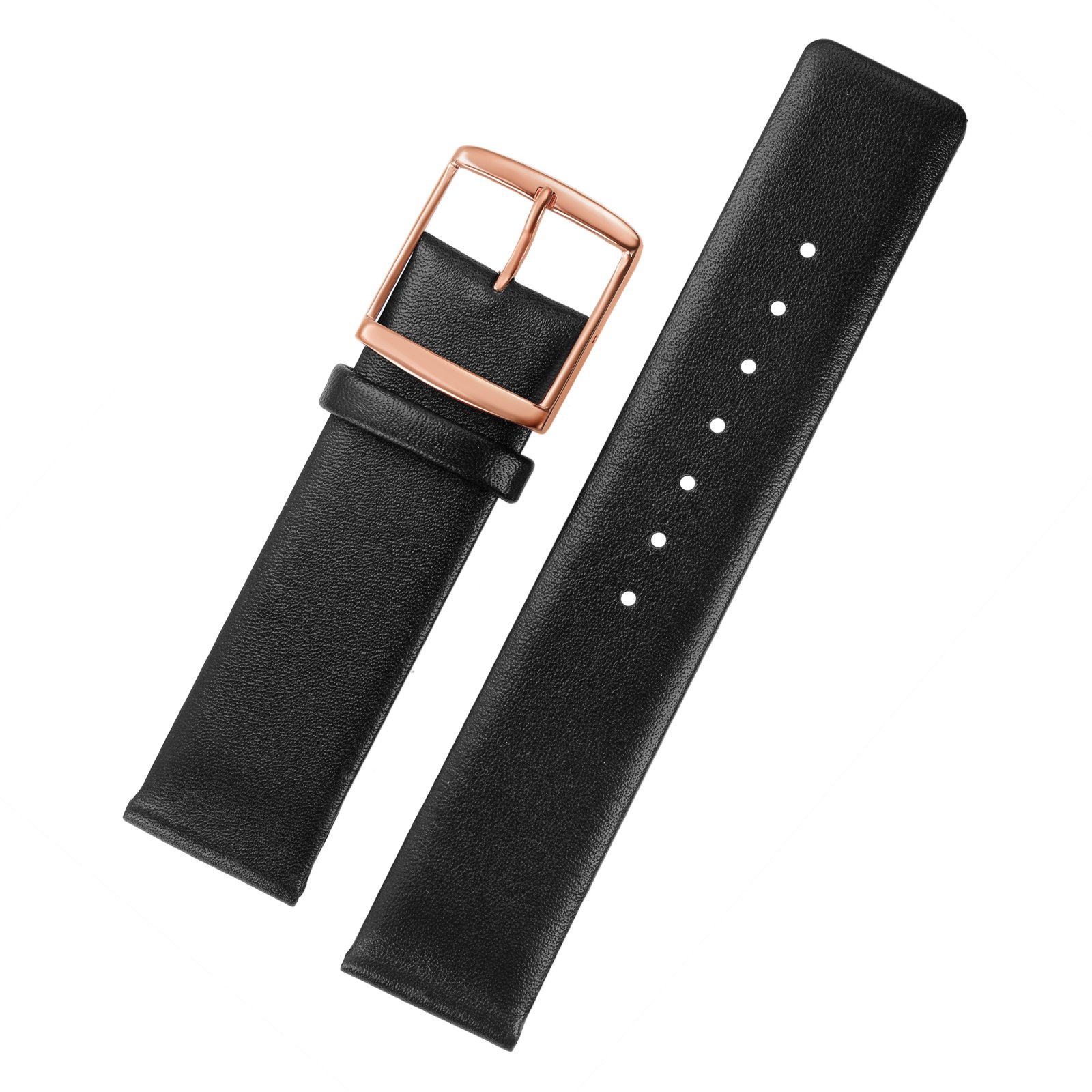 16mm Black Leather Watch Bands Replacement Italian Cowhide Thin without Stitching Simple Design Rose Gold Buckle