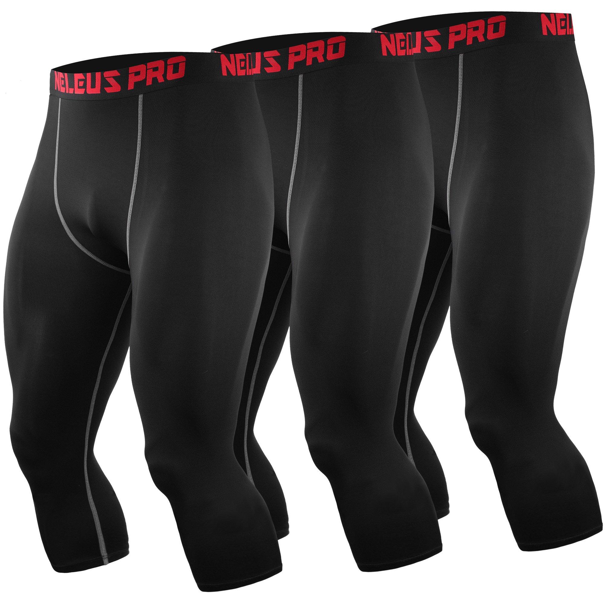 Neleus Men's Compression 3/4 Capri Running Leggings Sports Tights,6057,Black (Grey Stripe),S,EU M