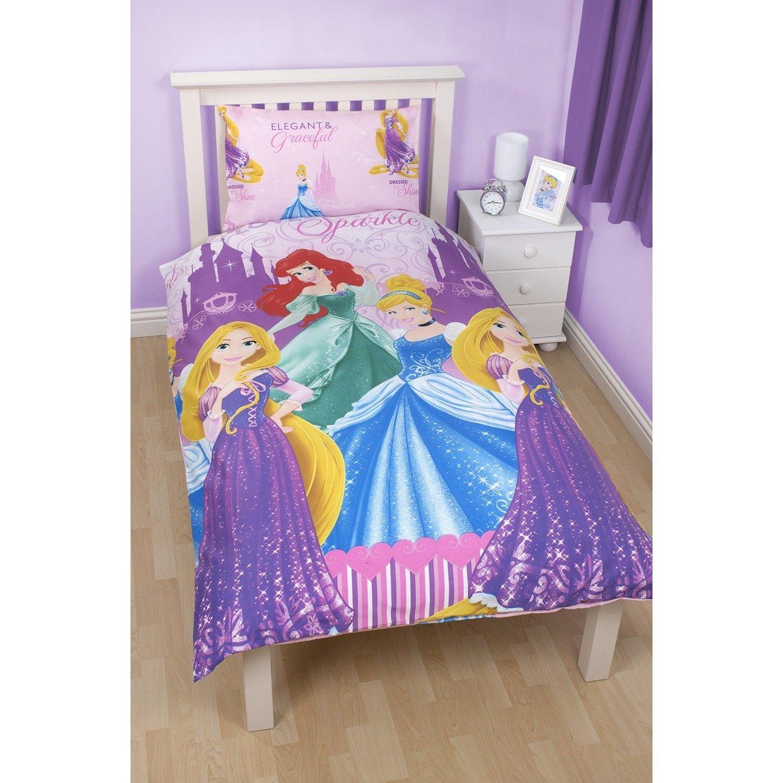 Girls Disney Princess Sparkle Reversible Single Duvet/Quilt Cover ... : disney princess quilt cover - Adamdwight.com