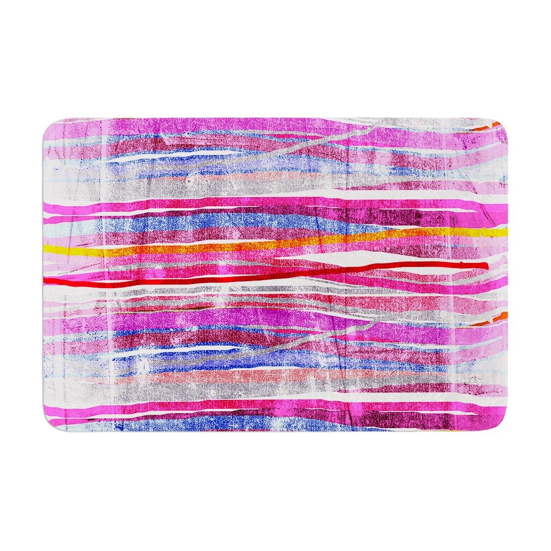 Kess InHouse Frederic Levy-Hadida Fancy Stripes Purple Memory Foam Bath Mat 17 by 24