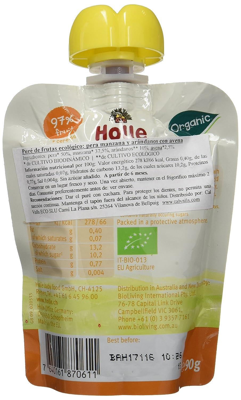 Holle Smoothie Pera, Manzana, Arándano con Avena (+6 meses) - Paquete de 12 x 90 gr - Total: 1080 gr: Amazon.es: Alimentación y bebidas