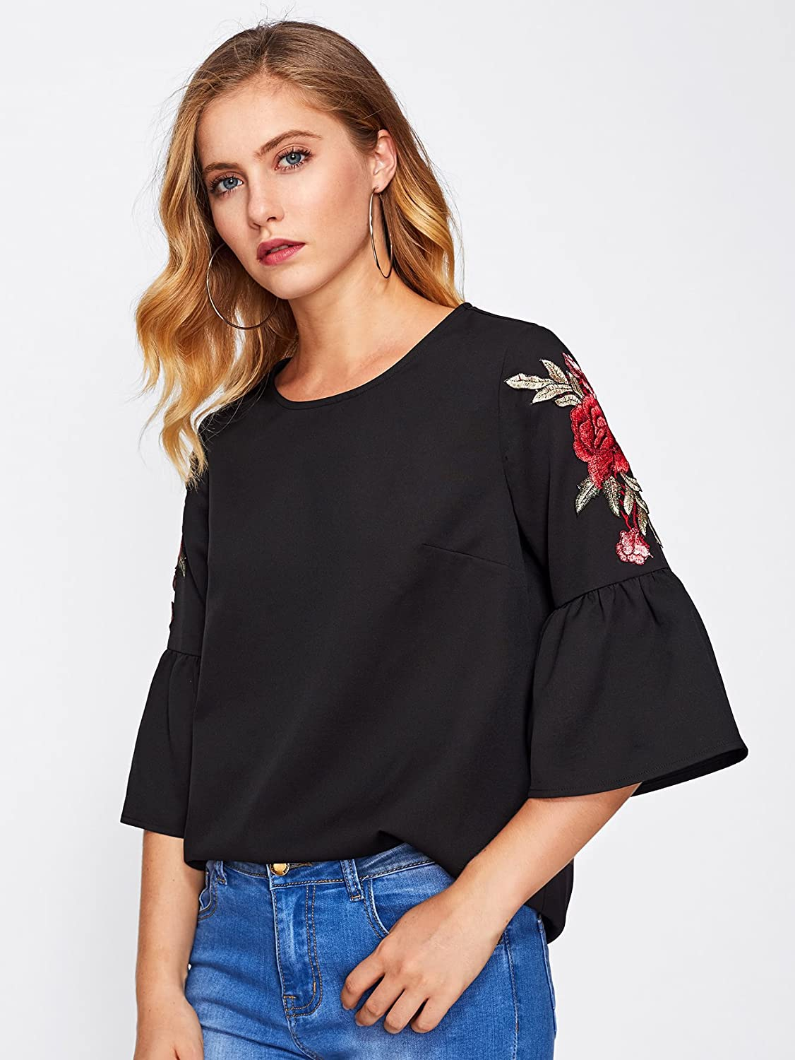 8a9210e45a Floerns Women s Floral Embroidery Loose Blouse Bell Sleeve Top at Amazon  Women s Clothing store