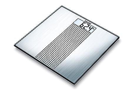 Beurer GS 36 - Báscula de baño de vidrio, ultra plana, color plateado y