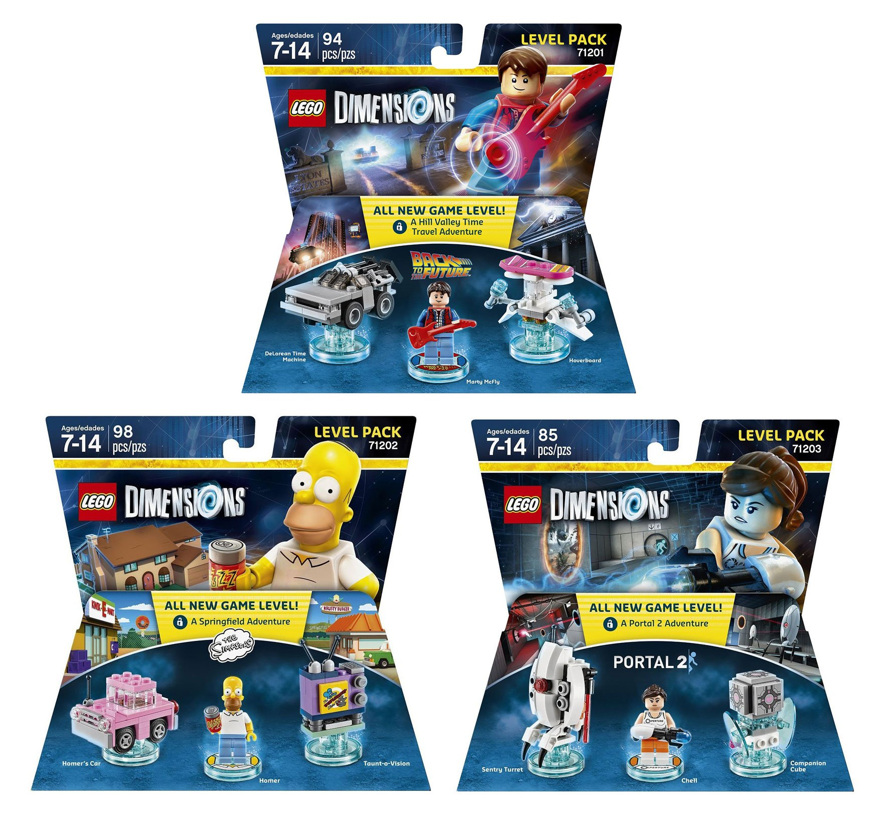 The Simpsons Homer Level Pack + Back To The Future Marty McFly Level Pack + Portal 2 Level Pack - Lego Dimensions (Non Machine Specific)