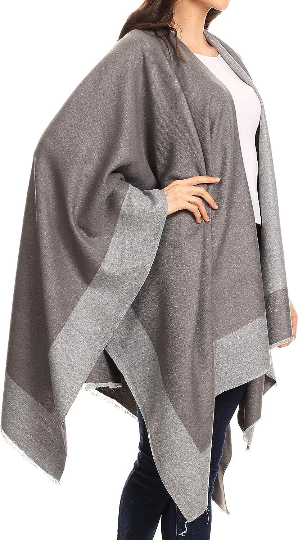 MeOkey Damen Poncho Schal Wrap Open Front Cape /Übergro/ße Winterdecke Reversible Schal Dicke Cardigan Coat