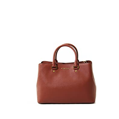 2729e054c50b71 Amazon.com: MICHAEL Michael Kors Womens Savannah Leather Satchel Handbag  Red Large: Shoes