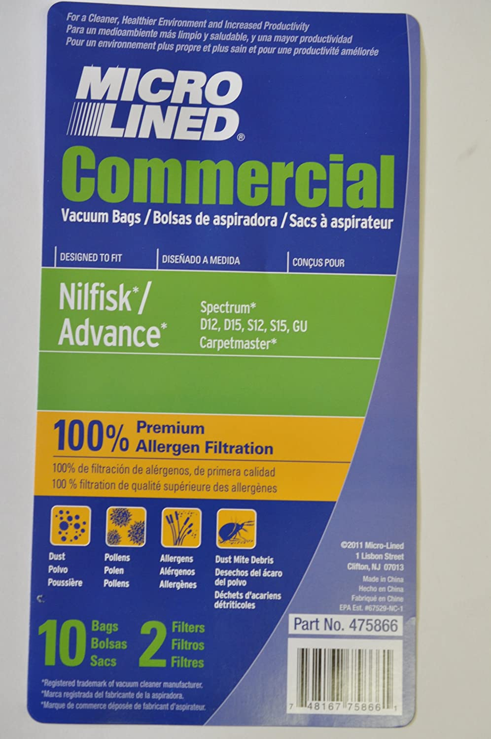 10 Nilfisk/Advance MicroLined Premuim Allergen Vacuum Bags AND 2 Filters. Fits Spectrum D12, D15, S12, S15, GU and Carpetmaster (10 bags/2 filters)