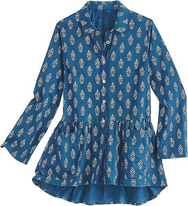Abril Cornell Blusa Tipo túnica para Mujer, Parte Delantera con Botones, impresión de Hojas Plateadas, Azul - Azul - Large: Amazon.es: Ropa y accesorios