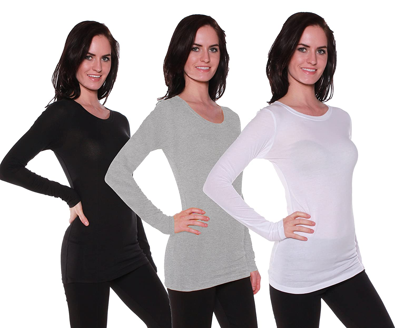 Active Products SHIRT レディース B06W9JN5S6 Small 3 Pack - White, H Grey, Black 3 Pack - White, H Grey, Black Small