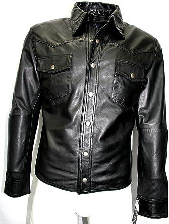 Boots And Leather Hombre Negro Bronceado Camisa Chaqueta de Cuero Real de napa Suave (UK XXL/EU 56): Amazon.es: Ropa y accesorios