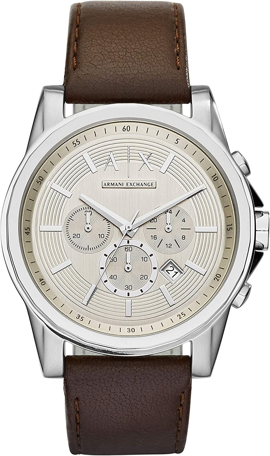 A:X Men's Brown Leather Watch AX2506