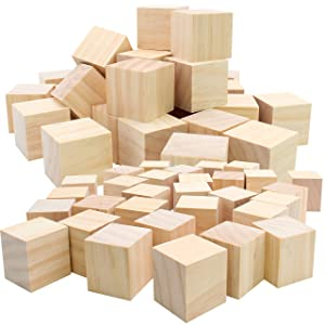 "(50pc) Blank Real Wood Natural Alphabet Blocks for Crafts Painting Wood Burning Engraving Weddings Parties Unfinished and Unpainted Wooden 2"" x 2"" Cubes"