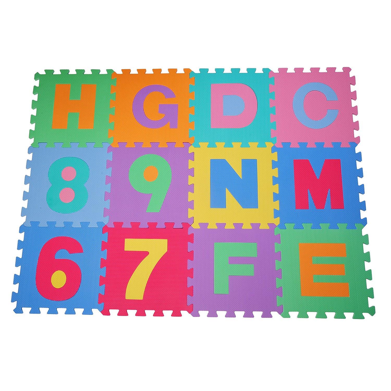 Alfombra puzle 192x192 cm Niños 3 años 36 piezas Numeros 0 al 9 y 26 Letras Alfabeto Goma Espuma HomCom