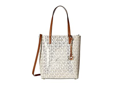 e06bf46c238a Amazon.com: Michael Kors Hayley Large North/South Top Zip Tote VANILLA:  Shoes