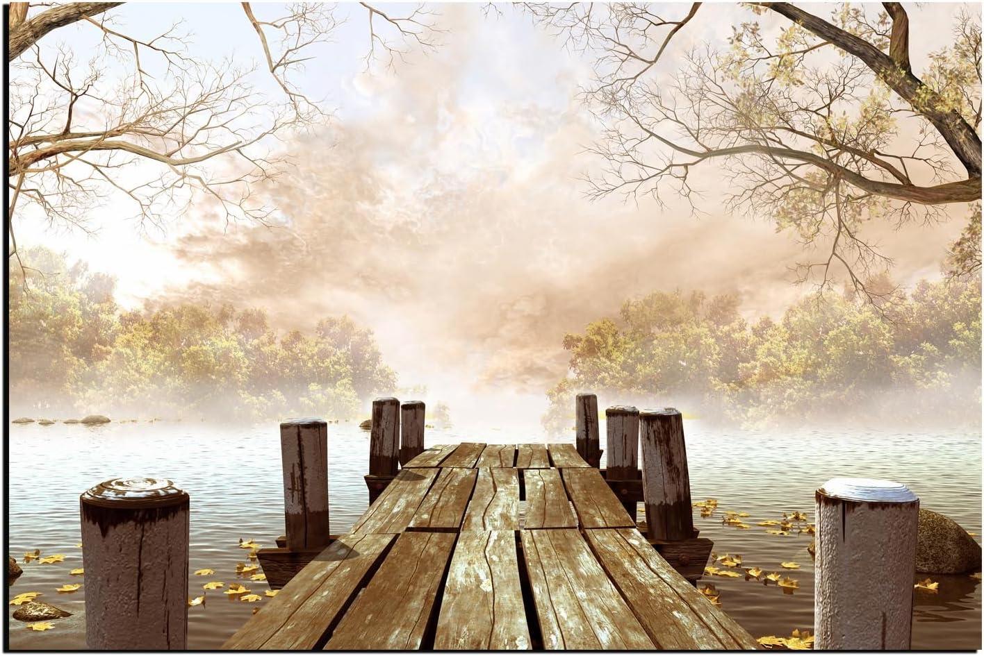 Alu-Dibond Wandbild Frühlingstag am See mit Boot in der Natur AB-674 Butlerfinis