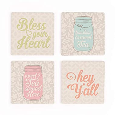 Southern Phrases Bless Your Heart on Patterns 4 x 4 Absorbent Ceramic Coasters Set of 4