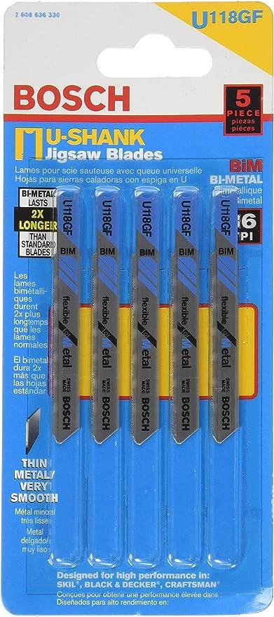 Bosch U118GF 2-3//4-Inch 36TPI 5 Pack Bi-Metal Universal Shank Jigsaw Blade