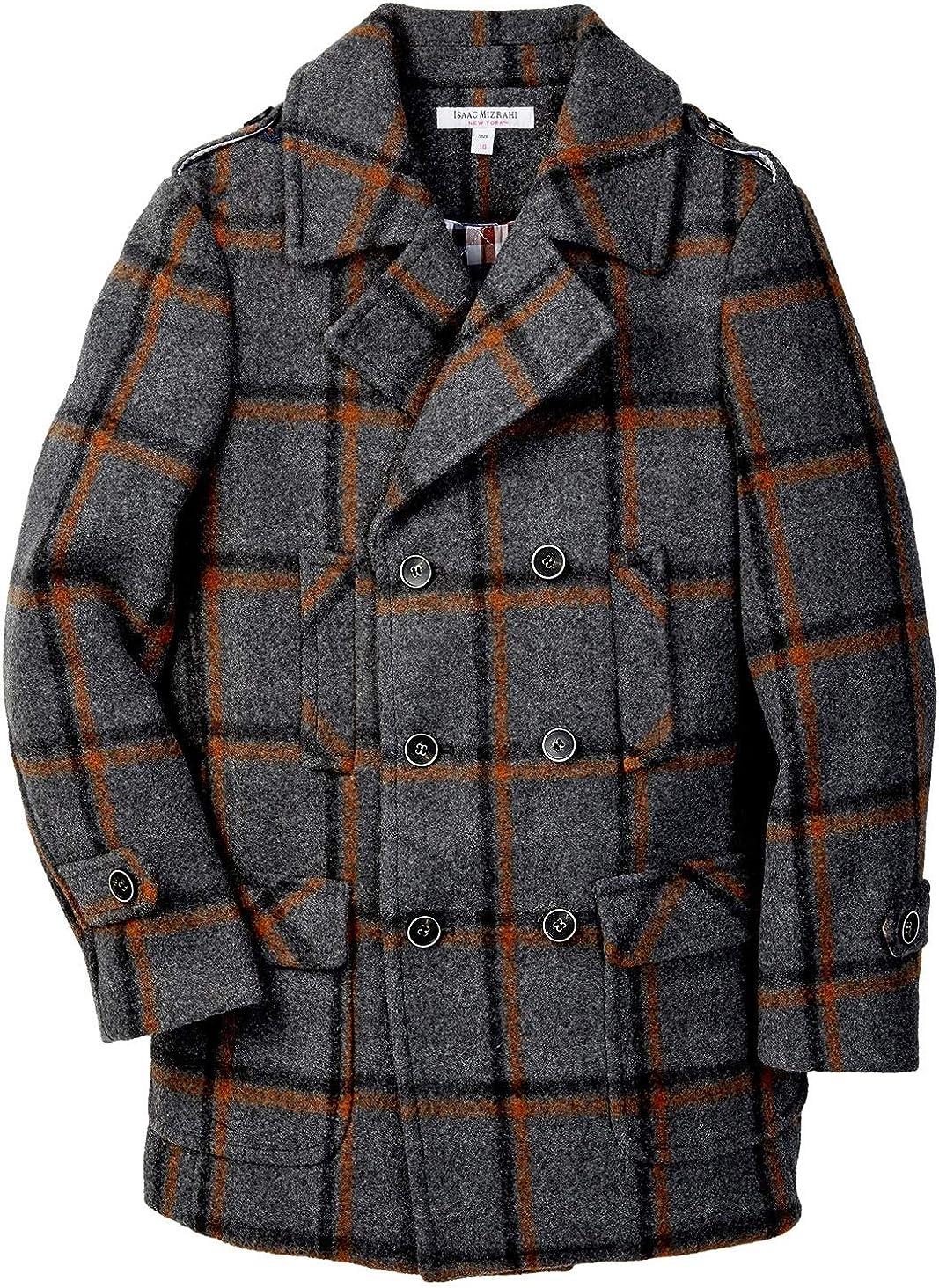 Isaac Mizrahi Boy/'s 2-20 Multi Plaid Double Breasted Wool Pea Coat