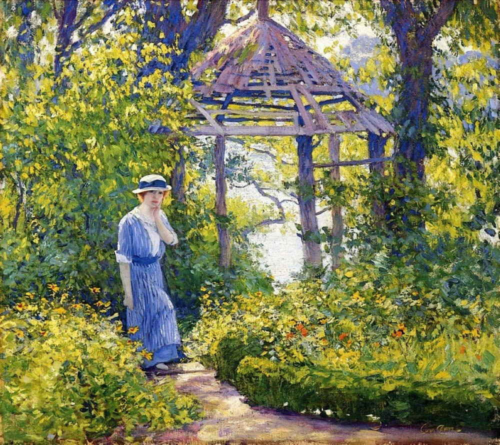 The Museum Outlet - Girl in a Wickford Garden, New England - Poster Print Online Buy (30 X 40 Inch)