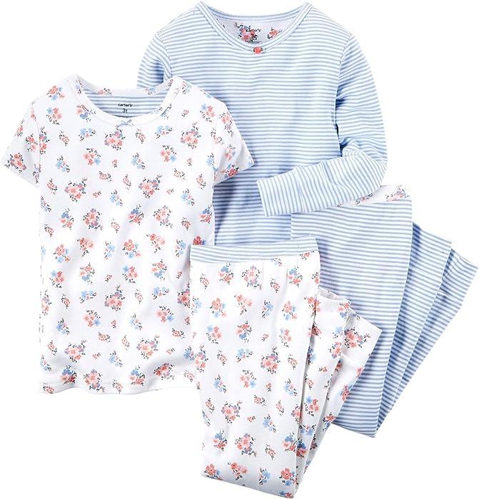 3ccf123d5506 Amazon.com  Carter s Baby Girls  4 Piece Slogan Tee PJ Set (Baby ...