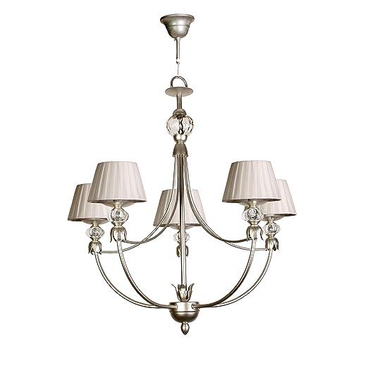 Lámpara de techo de 5 luces acabado plata con pantallas de ...