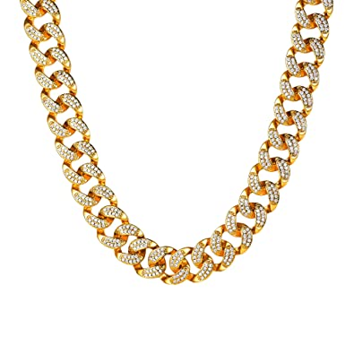 0da7d83aed2f4 U7 Personalized Shiny Iced Out Chain Rapper's Statement Necklace 18K Yellow  Gold Miami Cuaban Chain 14mm
