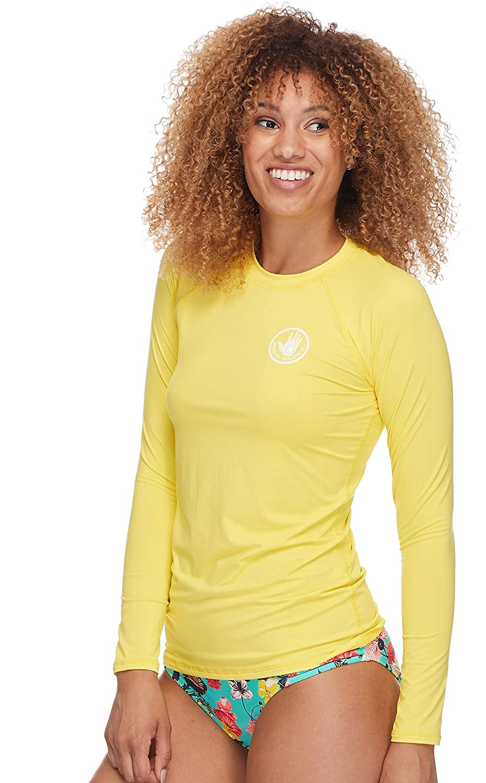 Body Glove Womens Smoothies Sleek Solid Long Sleeve Rashguard with UPF 50 Citrus Large