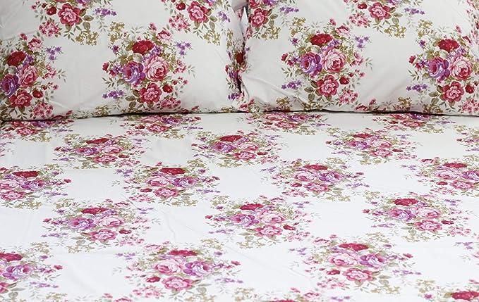 1800 Series Super suave egipcio comodidad 4 piezas Reina juego de sábanas microfibra floral rosa morado y rosa: Amazon.es: Hogar