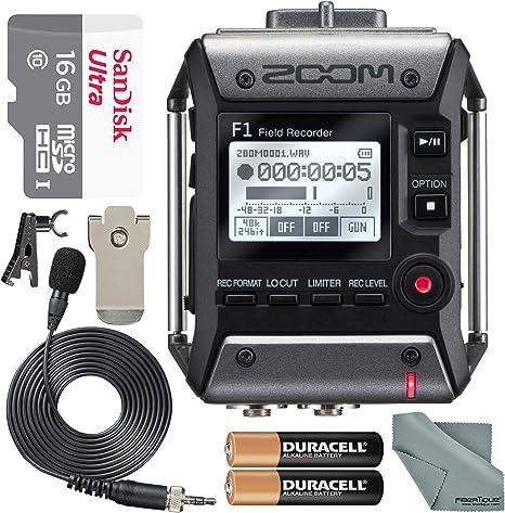Amazon.com: Zoom F1 Campo grabadora con micrófono lavalier ...