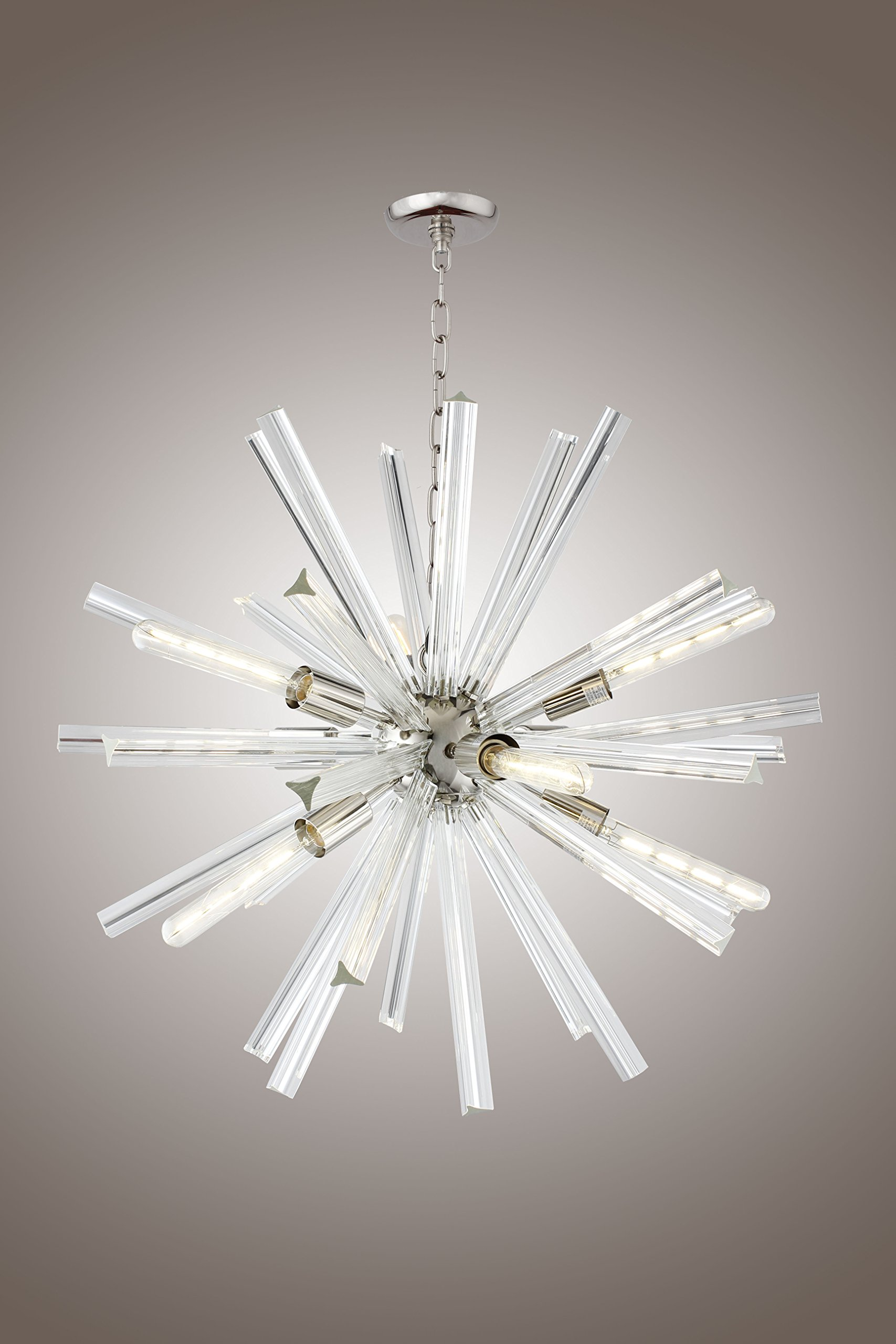 29 Inch Clear Crystal Axis Luxury Chandelier Lucite Sputnik Hanley 9 Light Ceiling Lamp by Deluxe Lamp (Image #1)