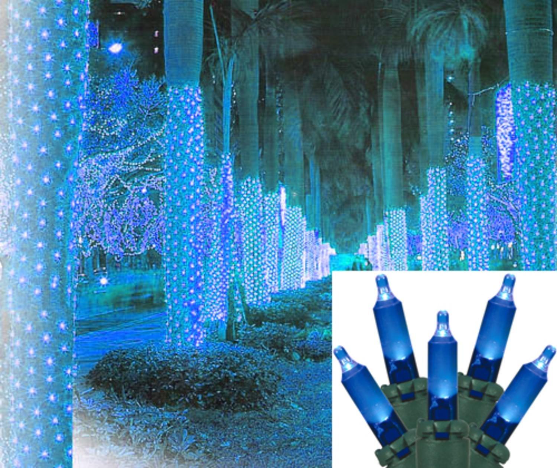 2\' x 8\' Blue LED Net Style Tree Trunk Wrap Christmas Lights - Green ...
